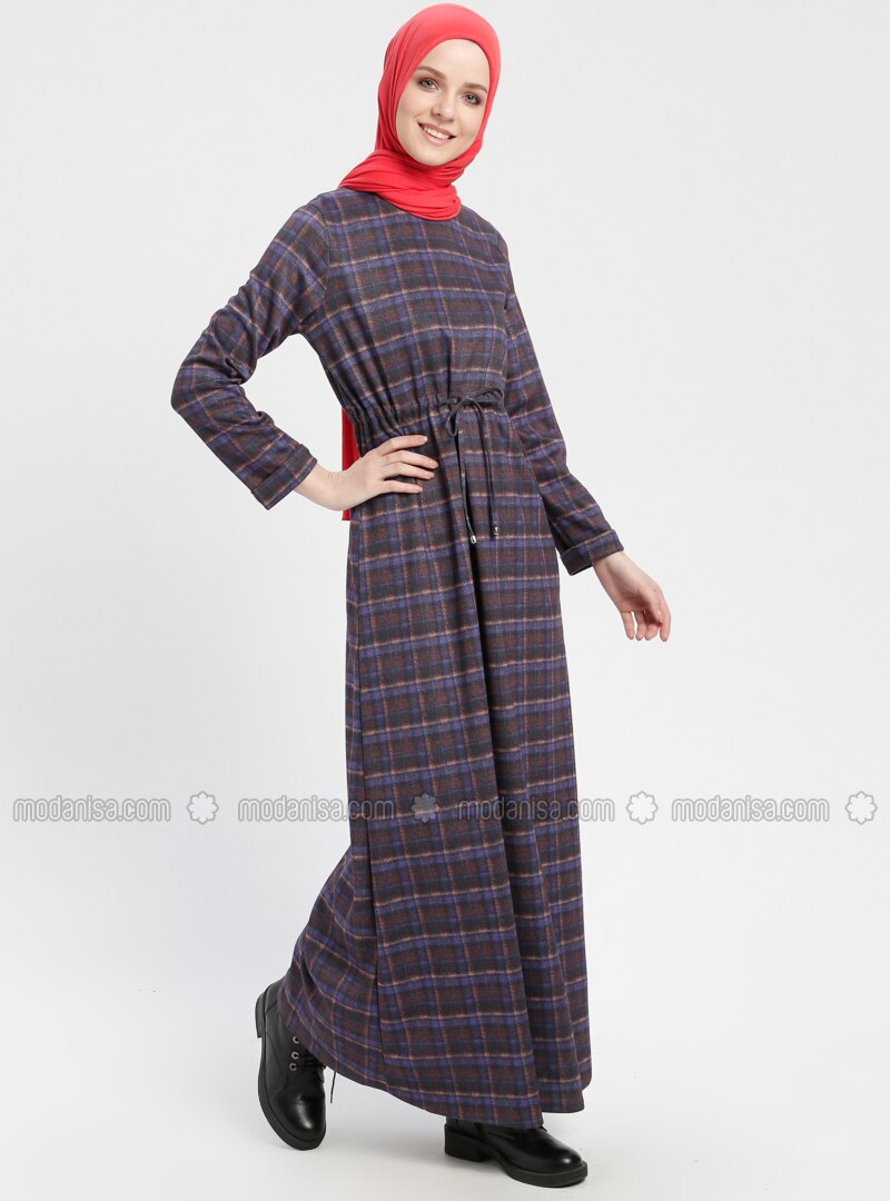 Purple - Multi - Crew neck - Unlined - Dresses