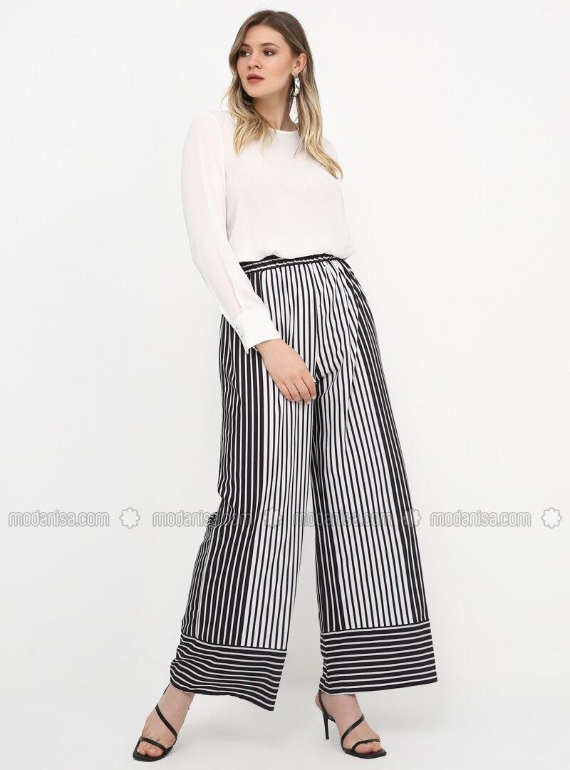 Black - White - Stripe - Plus Size Pants