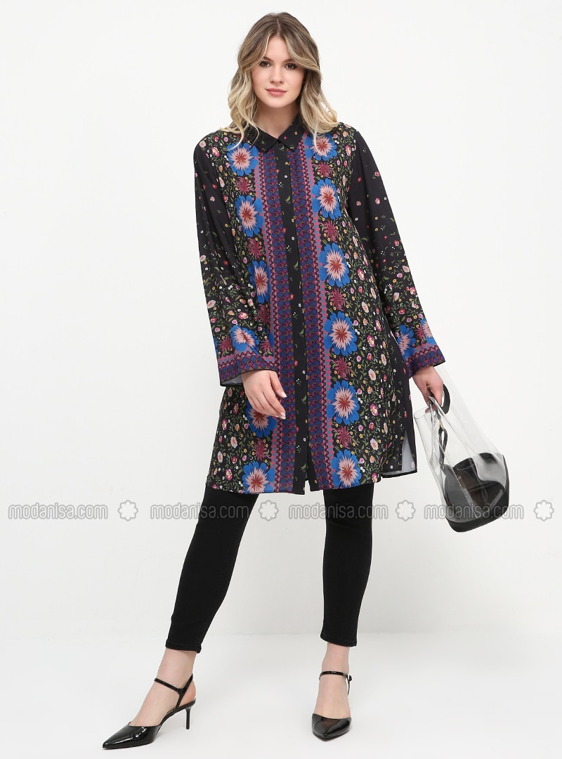 Black - Floral - Point Collar - Chiffon - Plus Size Tunic