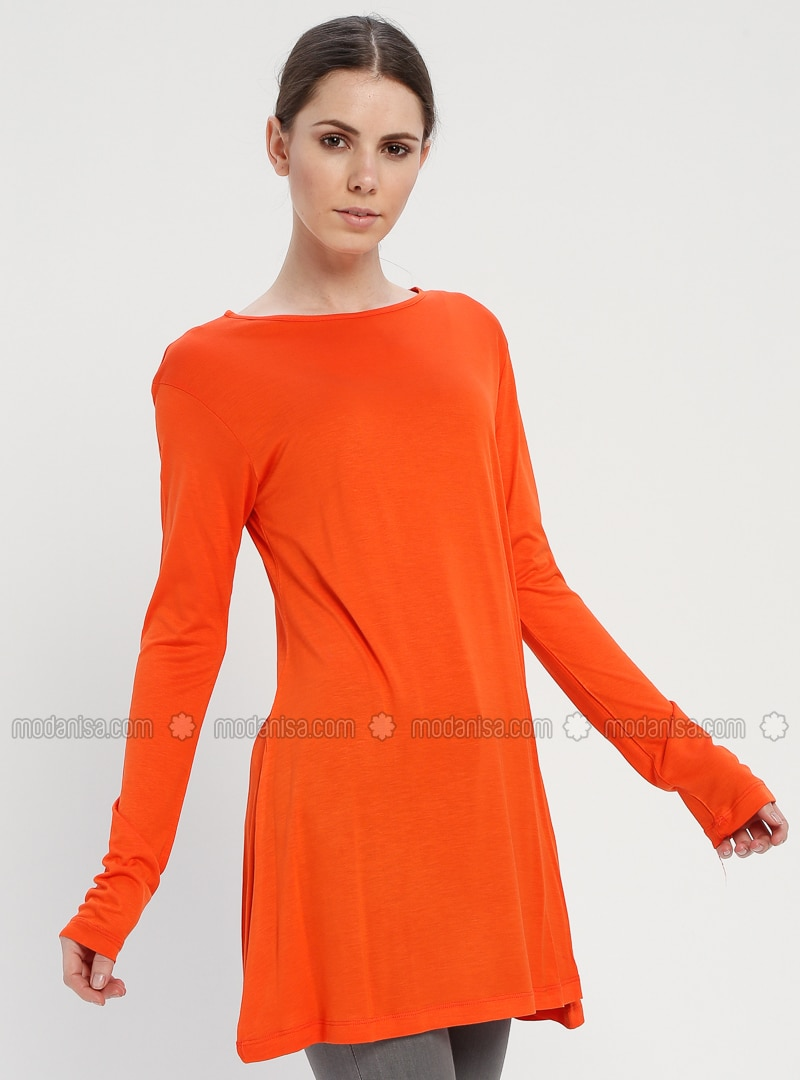 Orange - Crew neck - Cotton - Tunic