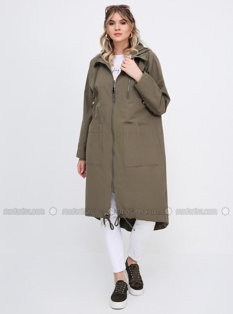 Khaki - Unlined - Plus Size Trench coat