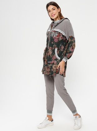 Gray - Khaki - Floral - Crew neck - Tracksuit Set
