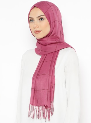 Pink - Plain - Fringe - Viscose - Shawl