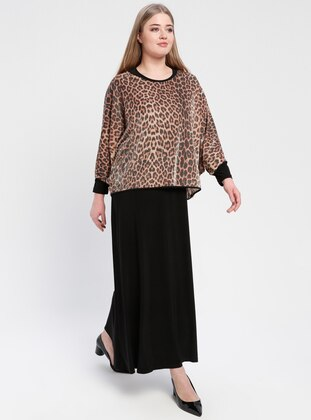 Brown - Leopard - Crew neck - Unlined - Plus Size Evening Suit