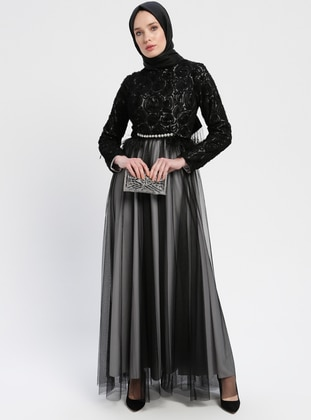 Black - Gray - Fully Lined - Crew neck - Muslim Evening Dress