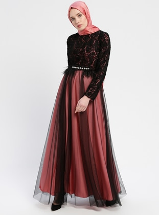 Black - Coral - Fully Lined - Crew neck - Muslim Evening Dress