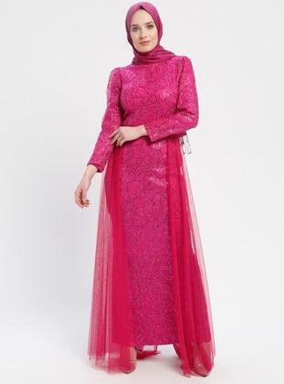 Pink - Fuchsia - Fully Lined - Crew neck - Muslim Evening Dress