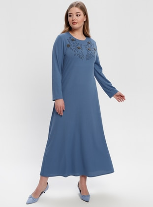 Blue - Navy Blue - Indigo - Unlined - Crew neck - Plus Size Dress