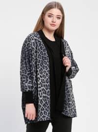 Black - Gray - Leopard - Crew neck - Unlined - Plus Size Evening Suit