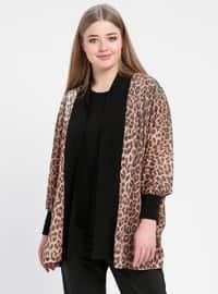 Black - Brown - Leopard - Crew neck - Unlined - Plus Size Evening Suit