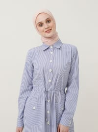 Blue - Stripe - Point Collar - Unlined - Cotton - Dress