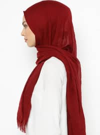 Maroon - Plain - Viscose - Shawl
