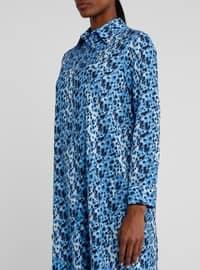 Blue - Navy Blue - Leopard - Point Collar - Tunic