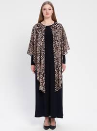 Navy Blue - Leopard - Unlined - Crew neck - Muslim Plus Size Evening Dress