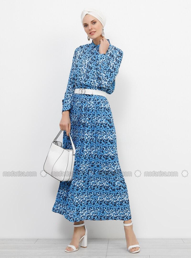 Blue - Navy Blue - Leopard - Unlined - Skirt
