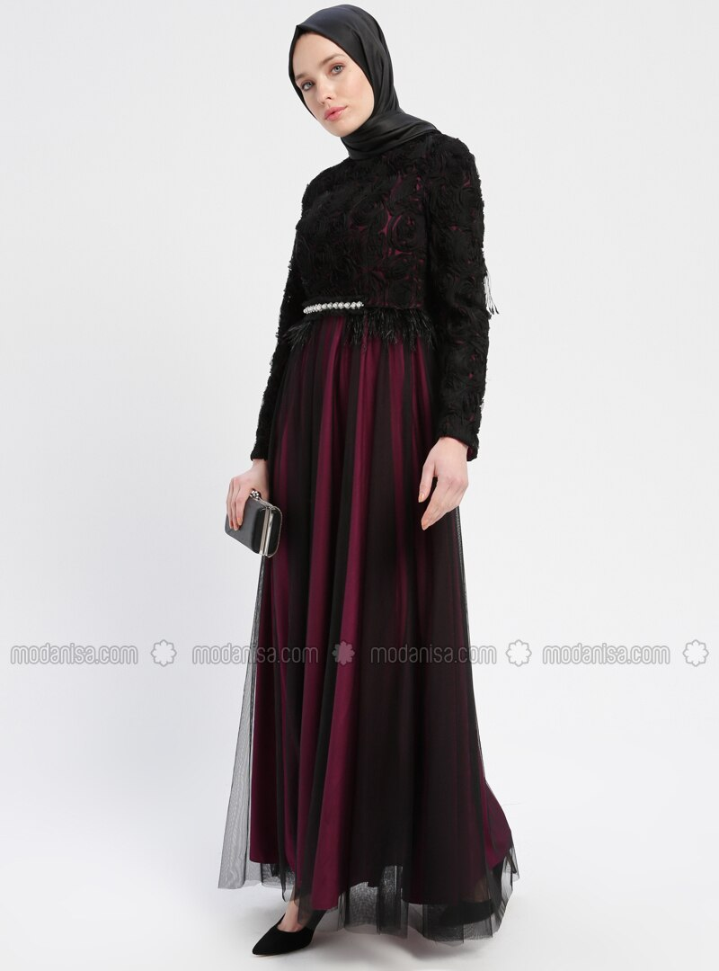 4d6e2a5149 Black - Purple - Fully Lined - Crew neck - Muslim Evening Dress