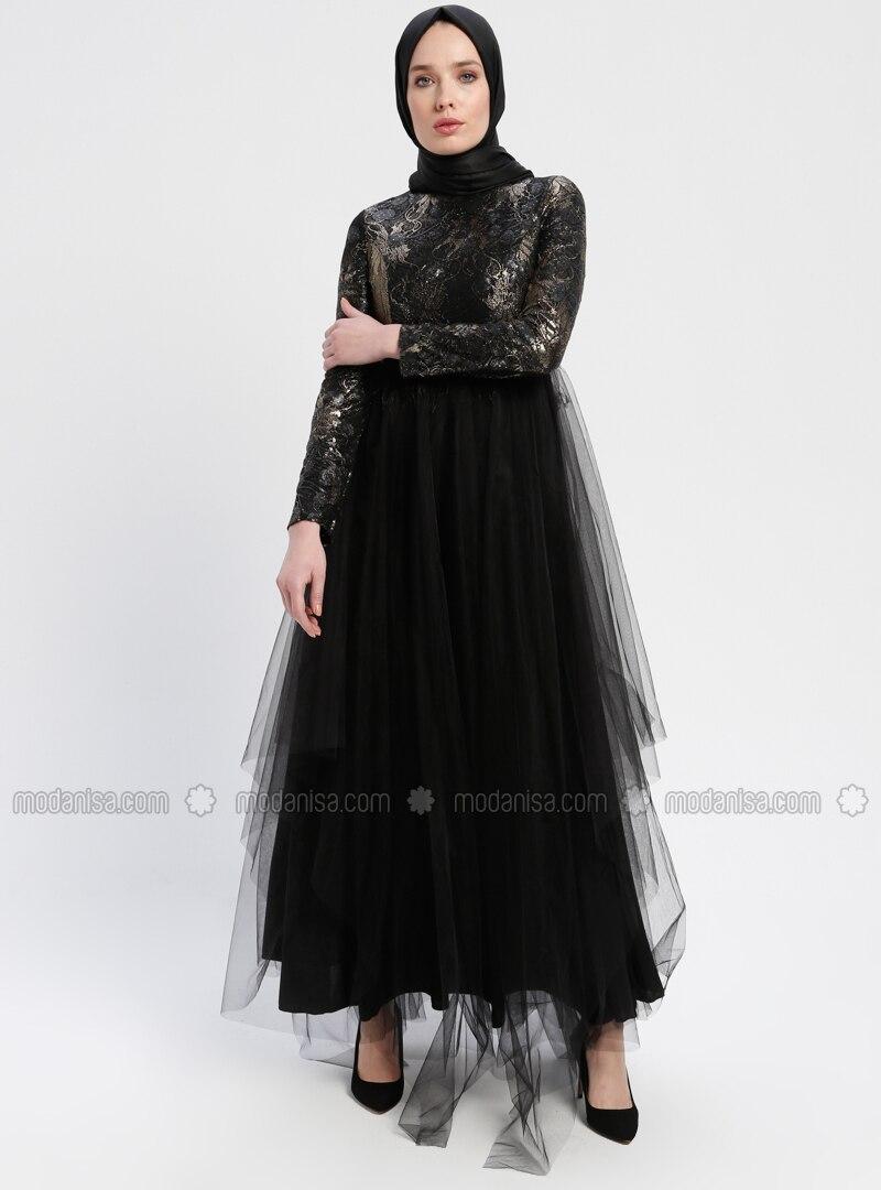d9c06ec3ad5df Tül Detaylı Payetli Abiye Elbise - Siyah
