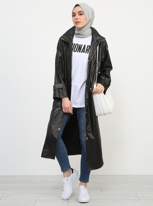 Black - Unlined - Trench Coat - Refka
