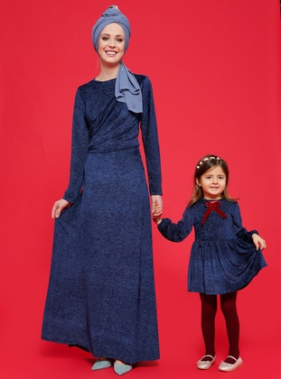 Unlined - Crew neck - Navy Blue - Age 8-12 Dress