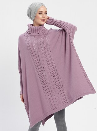 Lilac - Polo neck - Unlined -  - Poncho