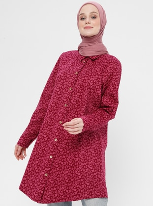 Pink - Floral - Point Collar - Cotton - Tunic