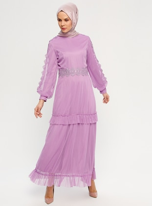 Pink - Fully Lined - Polo neck - Muslim Evening Dress