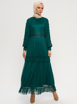 Green - Emerald - Fully Lined - Polo neck - Muslim Evening Dress