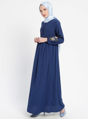 Navy Blue - Indigo - Crew neck - Unlined - Dresses