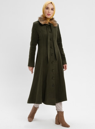 Khaki - Fully Lined - Point Collar - Coat