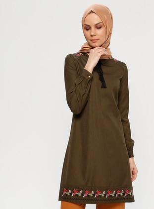 Khaki - Round Collar - Tunic