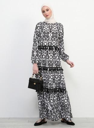 Black - White - Ethnic - Crew neck - Unlined - Dress