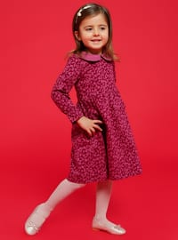 Unlined - Round Collar - Floral - Pink - Cotton - Girls` Dress