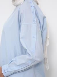 Blue - Baby Blue - Polo neck - Tunic