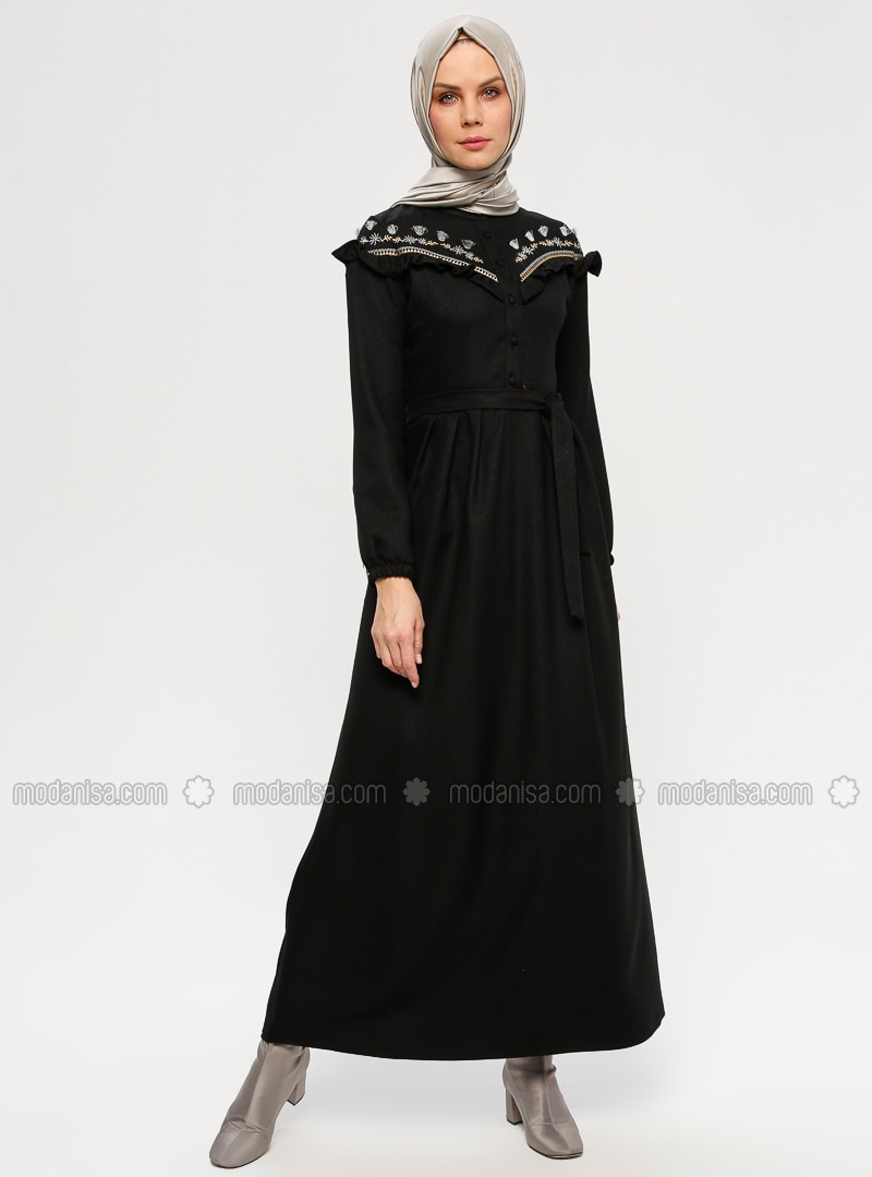 Black - Button Collar - Unlined - Dresses