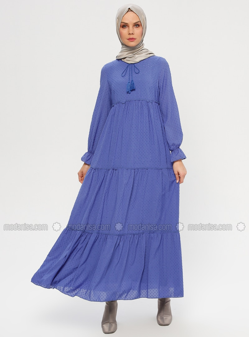 Blue - Crew neck - Fully Lined - Dresses
