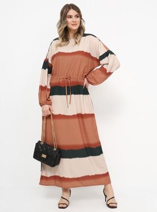 Khaki - Terra Cotta - Unlined - Crew neck - Plus Size Dress