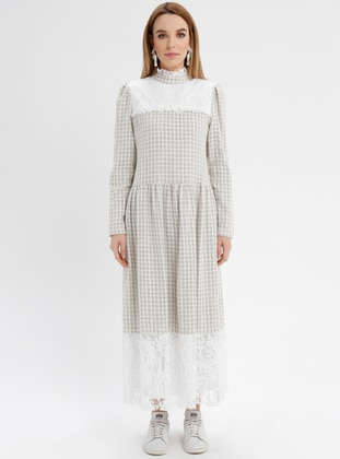 White - Ecru - Checkered - Polo neck - Fully Lined - Acrylic - Dresses