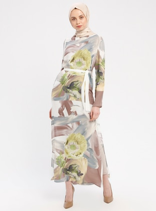 Green - Ecru - Multi - Crew neck - Unlined - Chiffon - Dresses