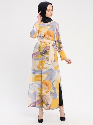 Yellow - Multi - Crew neck - Unlined - Chiffon - Dresses