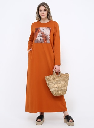 - Unlined - Crew neck - Cotton - Plus Size Dress