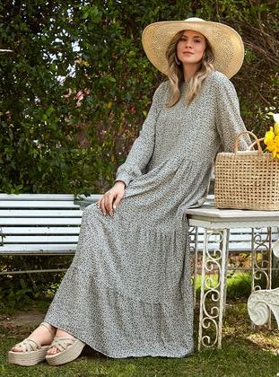 Khaki - Unlined - Crew neck - Viscose - Plus Size Dress