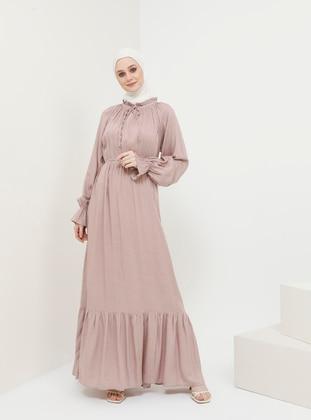 Dusty Rose - Polka Dot - Polo neck - Unlined - Viscose - Dress