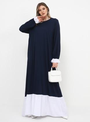 Navy Blue - Unlined - Crew neck - Cotton - Plus Size Dress