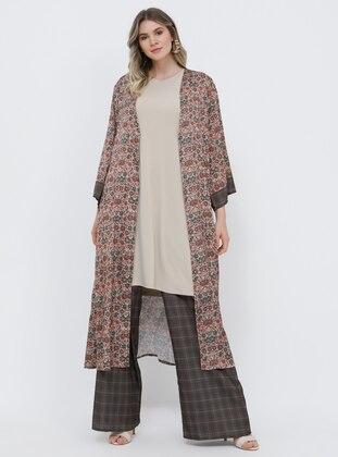 Brown - Khaki - Plaid - Plus Size Pants