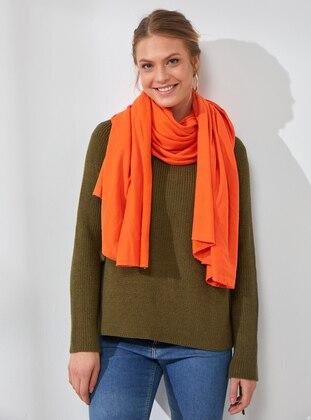 Cotton - Orange - Plain - Shawl Wrap