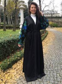 Blue - Black - Floral - Unlined - Abaya