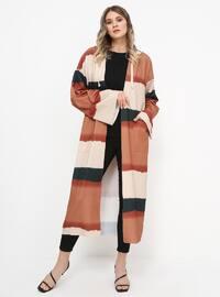 Haki - Tuğla - Astarsız kumaş - Büyük palto