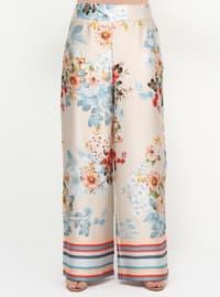 Beige - Multi - Plus Size Pants