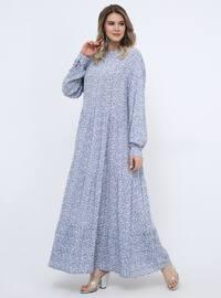 Blue - Navy Blue - Floral - Unlined - Crew neck - Viscose - Plus Size Dress