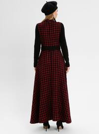 Red - Black - Houndstooth - Polo neck - Unlined - Acrylic - Dresses